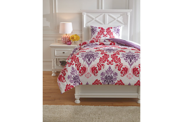 Ventress 2-Piece Twin Comforter Set, Berry, large