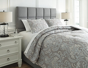 Noel 3-Piece Queen Comforter Set, Gray/Tan, large