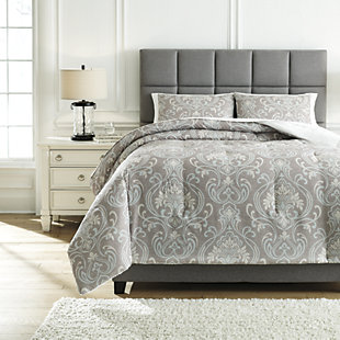 Noel 3-Piece Queen Comforter Set, Gray/Tan, rollover