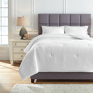 Maurilio 3-Piece Queen Comforter Set, White, rollover