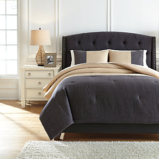 Medi 3-Piece Queen Comforter Set, Charcoal/Sand, large