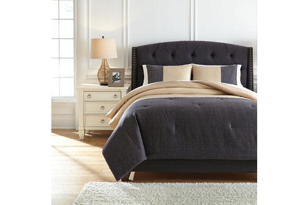 Medi 3-Piece Queen Comforter Set, Charcoal/Sand, large