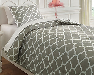 Media 2-Piece Twin Comforter Set, Gray/White, rollover