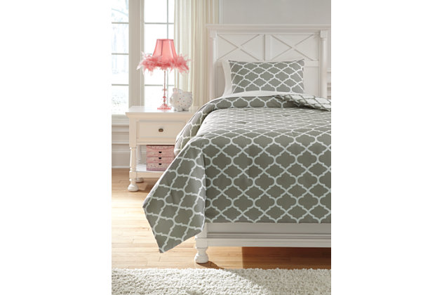 Media 2-Piece Twin Comforter Set, Gray/White, large