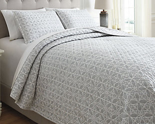 Mayda 3-Piece Queen Quilt Set, Gray/White, rollover