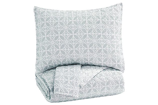 Mayda 3-Piece Queen Quilt Set, Gray/White, large