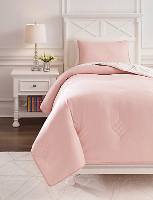 Lexann Twin Comforter Set, Pink/White/Gray, rollover