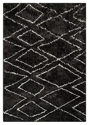 Deryn 5' x 7' Rug, Black/White, large