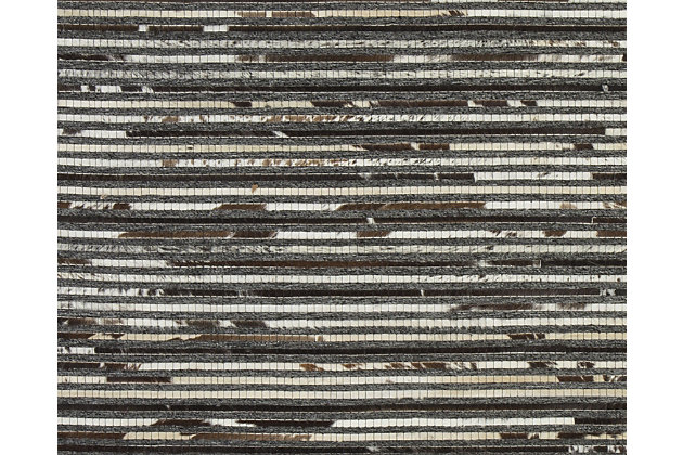Maddoc 5' x 8' Rug, Dark Brown/White, large