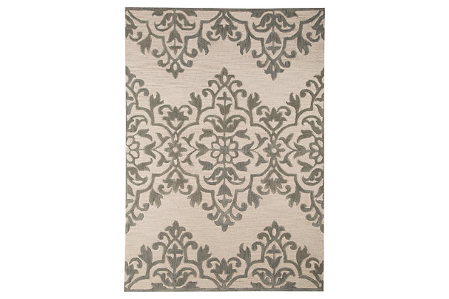 Bafferts 5' x 8' Rug, Ivory/Green, large