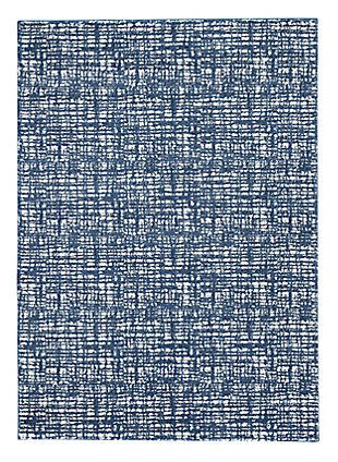 "Norris 7'6"" x 9'6"" Rug, Blue/White, large"
