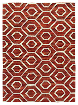 "Flatweave 5' x 7'10"" Rug, Burnt Orange, large"