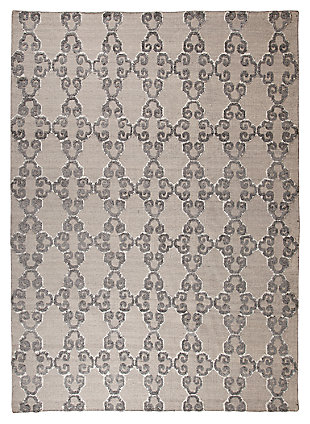 "Patterned 5' x 7'10"" Rug, Gray/Ivory, large"
