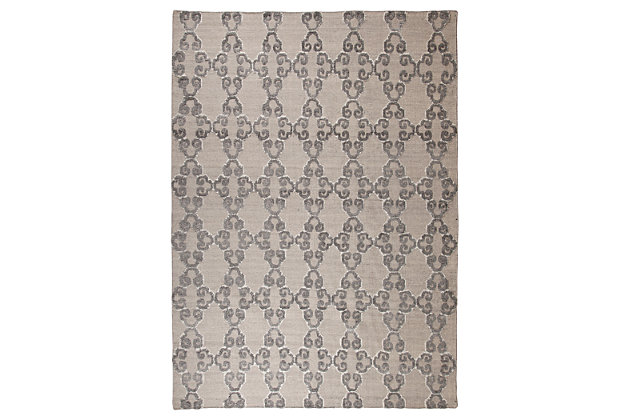 """Patterned 5' x 7'10"""" Rug, Gray/Ivory, large"""