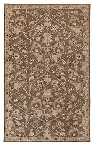 "Vintage 5' x 7'11"" Rug, Brown, large"