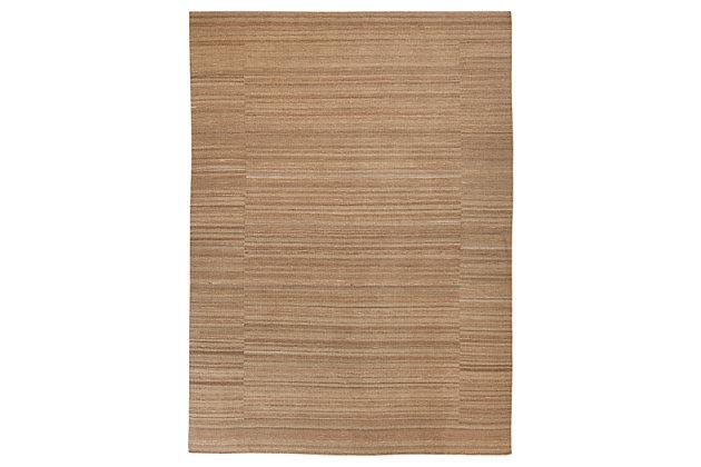 Flatweave 8' x 11' Rug, Tan, large