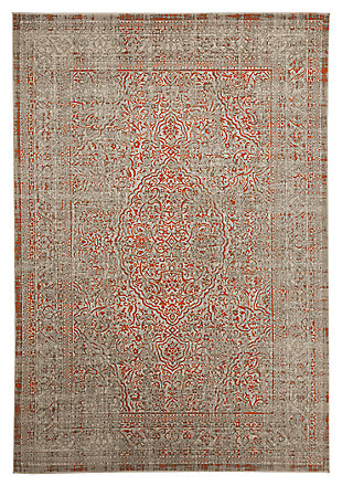 Beautiful Antique Washed Green And Orange Area Rug