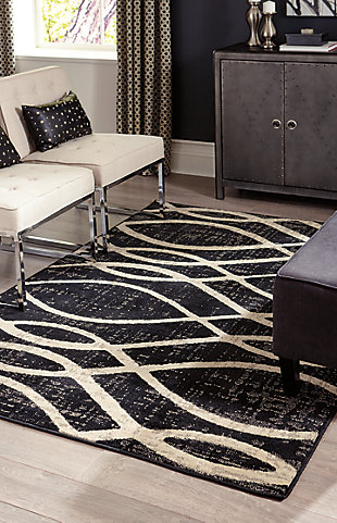 "Avi 7'10"" x 10' Rug, Gray/White, rollover"