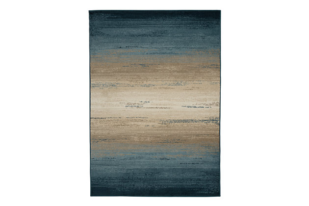 Ignacio 5' x 7' Rug, Blue/Tan, large