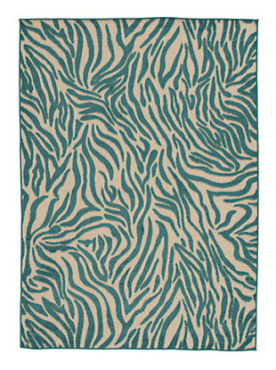 "Japheth 5'3"" x 7'5"" Indoor/Outdoor Rug, Turquoise, large"