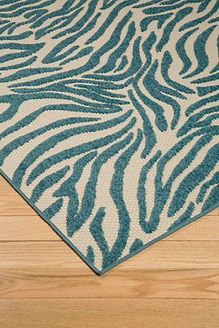 "Japheth 5'3"" x 7'5"" Indoor/Outdoor Rug, Turquoise, rollover"