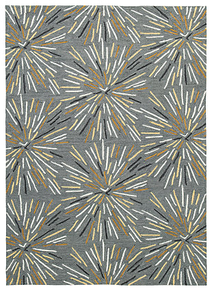 Calendre 5' x 7' Rug, Gray/Yellow/White, large