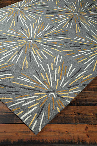 Calendre 8' x 10' Rug, Gray/Yellow/White, rollover