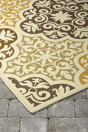 "Lacy 5'3"" x 7'6"" Indoor/Outdoor Rug, Brown/Gold, rollover"