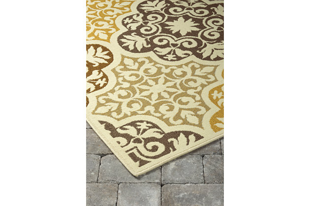 Lacy 5' x 7' Indoor/Outdoor Rug, Brown/Gold, large