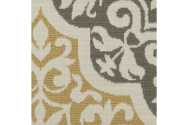 "Lacy 5'3"" x 7'6"" Indoor/Outdoor Rug, Brown/Gold, large"
