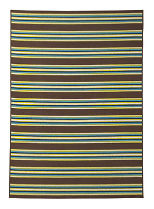 "Matchy Lane 5'3"" x 7'6"" Indoor/Outdoor Rug, Brown/Blue/Green, large"