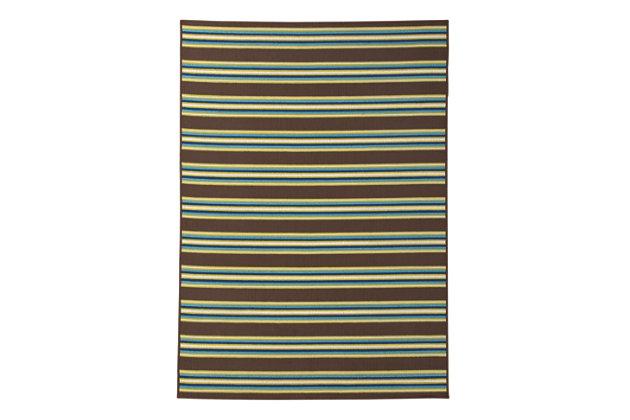 "Matchy Lane 7'10"" x 10'10"" Indoor/Outdoor Rug, Brown/Blue/Green, large"