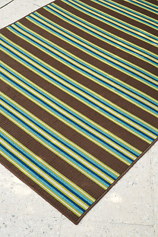 "Matchy Lane 5'3"" x 7'6"" Indoor/Outdoor Rug, Brown/Blue/Green, rollover"