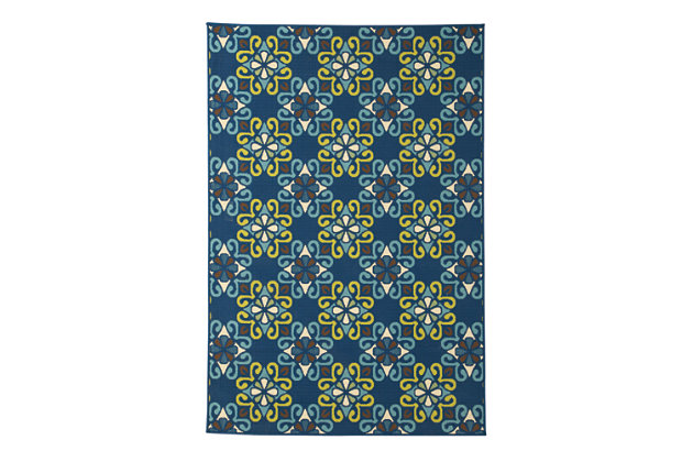 Glerok 5' x 7' Indoor/Outdoor Rug, Multi, large