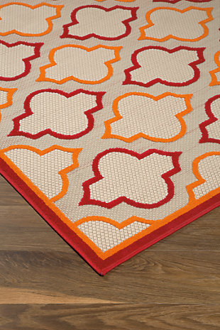 "Jebediah 5'3"" x 7'5"" Indoor/Outdoor Rug, Red/Orange, rollover"