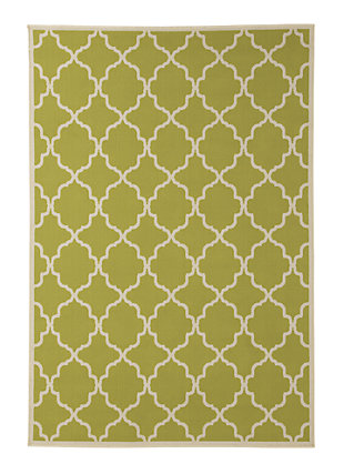 Kerry 5' x 7' Indoor/Outdoor Rug, Green/Cream, large
