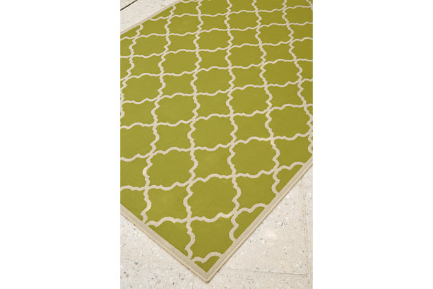 "Kerry 7'10"" x 10'10"" Indoor/Outdoor Rug, Green/Cream, large"