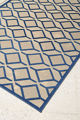 "Jenia 5'3"" x 6'9"" Indoor/Outdoor Rug, Navy Blue, rollover"