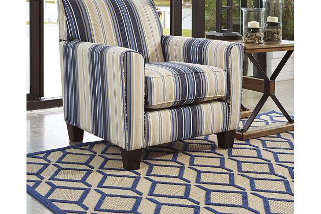 """Jenia 5' x 7'3"""" Indoor/Outdoor Rug, Navy Blue, large"""