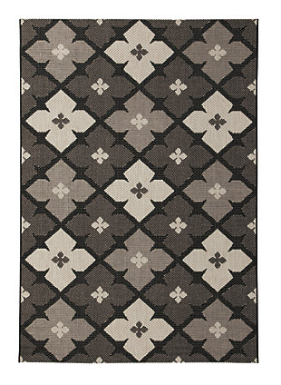 Asho 5' x 7' Indoor/Outdoor Rug, Black/Cream, large