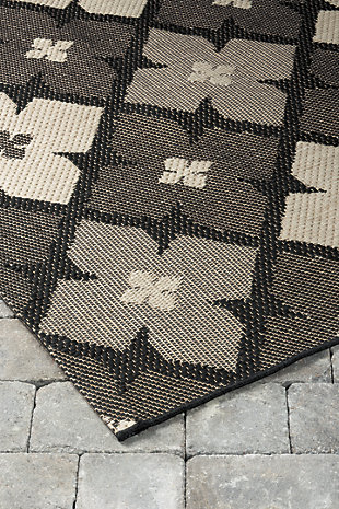 Asho 5' x 7' Indoor/Outdoor Rug, Black/Cream, rollover
