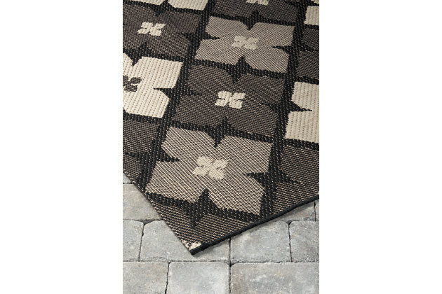 "Asho 7'10"" x 10'10"" Indoor/Outdoor Rug, Black/Cream, large"