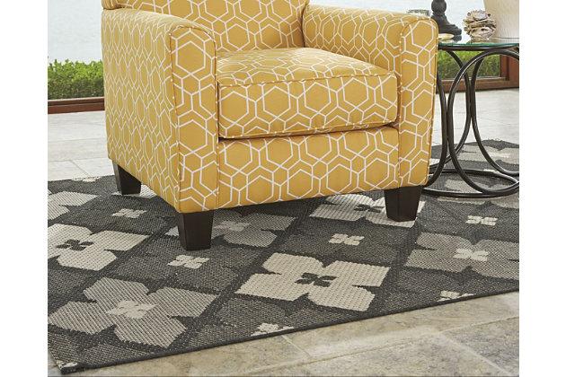 Asho 5' x 7' Indoor/Outdoor Rug, Black/Cream, large