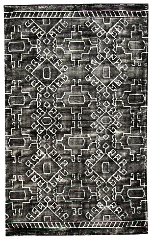 Edmond 5' x 8' Rug, Black/White, large