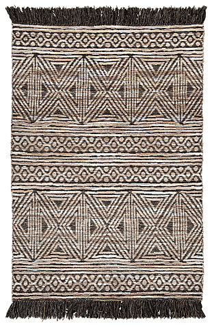Kylin Medium Rug, Taupe/Black, large
