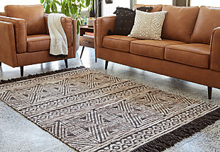 Kylin Medium Rug, Taupe/Black, rollover
