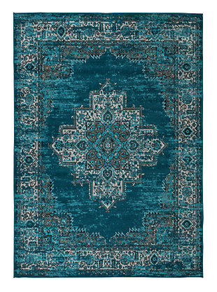 Moore 5'3 x 7'3 Rug, Blue/Teal, large