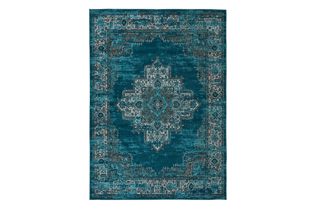 "Moore 5'3"" x 7'3"" Rug, Blue/Teal, large"