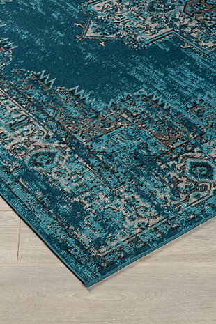 "Moore 5'3"" x 7'3"" Rug, Blue/Brown/Gray, rollover"