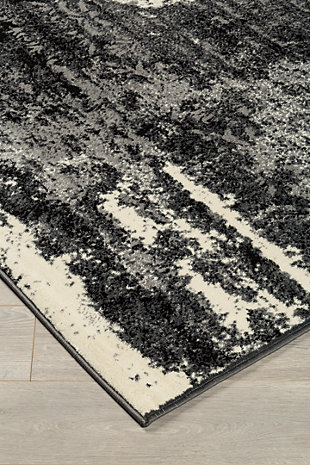 Roskos 5' x 7' Rug, Black/Cream/Gray, rollover